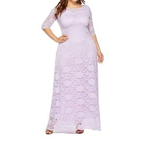 Womens Floral Lace 2/3 Sleeves Maxi Dress Plus Siz